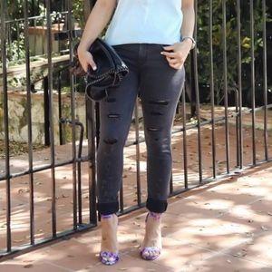 Express Gray Mia Legging Distressed Skinny Jeans